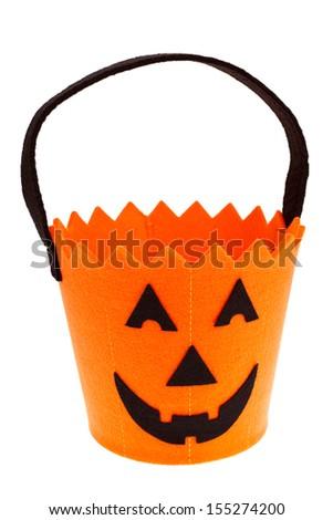 Jack o'lantern Halloween candy bucket isolated on white - stock photo