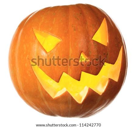 Jack O' Lantern, Halloween Pumpkin isolated on white - stock photo