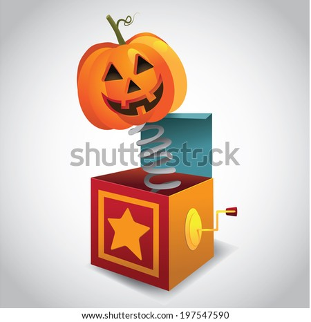 Jack-O-Lantern in the box.  - stock photo