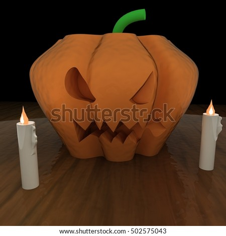 Jack O' Lantern pumpkin over table, with candles, 3d rendering