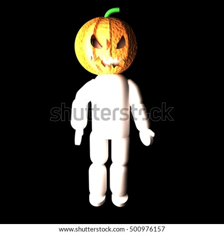 Jack O' Lantern pupper standing in the black, 3d rendering