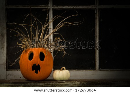 Jack-O-Lantern With A Shocked Expression - stock photo