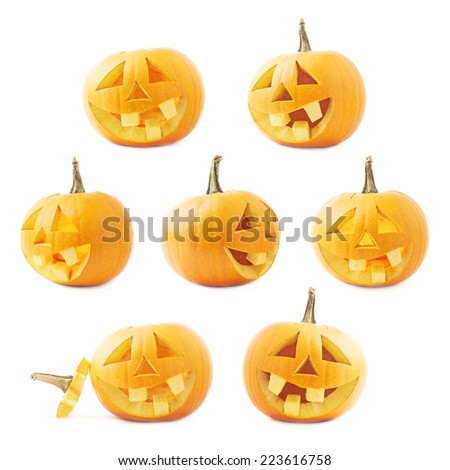 Jack-o'-lanterns orange halloween pumpkin head with the happy smiling facial expression, isolated over the white background, set of seven foreshortenings - stock photo