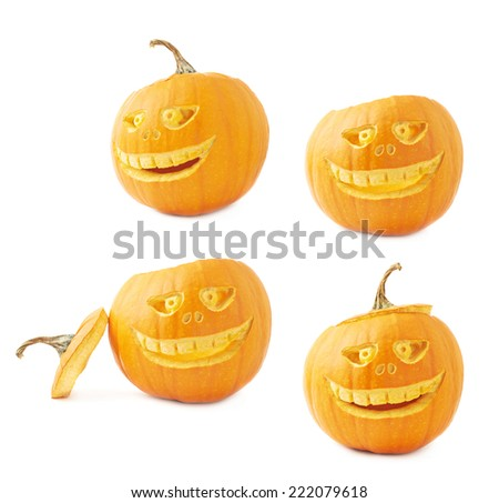 Jack-o'-lanterns orange halloween pumpkin head with the scary facial expression carved on it, isolated over the white background, set of four foreshortenings - stock photo