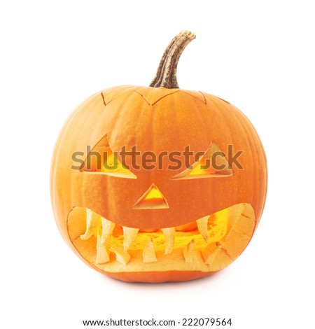 Jack-o'-lanterns orange halloween pumpkin head with the sharp teeth and scary facial expression, isolated over the white background