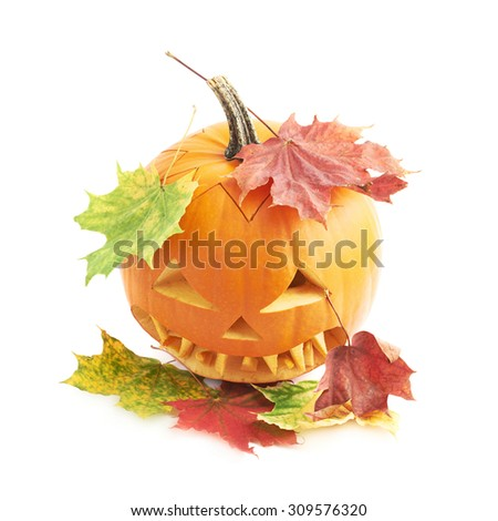 Jack-o'-lanterns orange halloween pumpkin head with the sharp teeth and scary facial expression and covered with the colorful maple leaves, isolated over the white background - stock photo