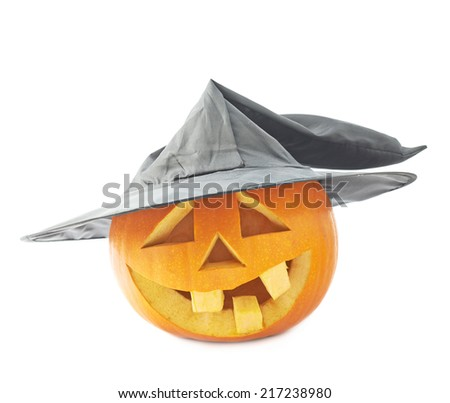 Jack-o'-lanterns orange happy smiling pumpkin head in a black pointed cone shaped wizard's hat, composition isolated over the white background - stock photo