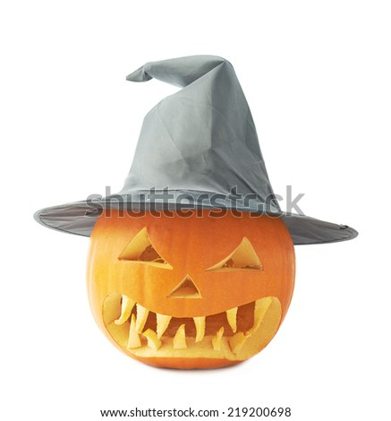 Jack-o'-lanterns orange pumpkin head with a scary expression in a black pointed cone shaped wizard's hat, composition isolated over the white background - stock photo