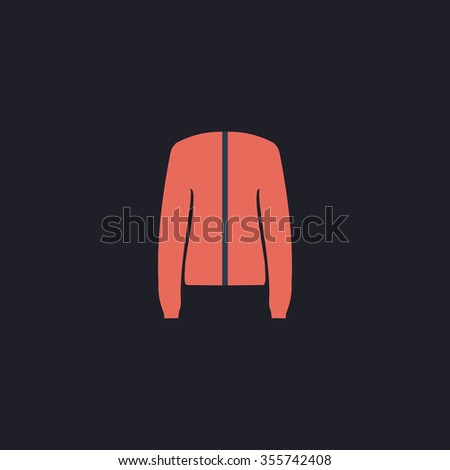 Jacket. Color flat icon on black background - stock photo
