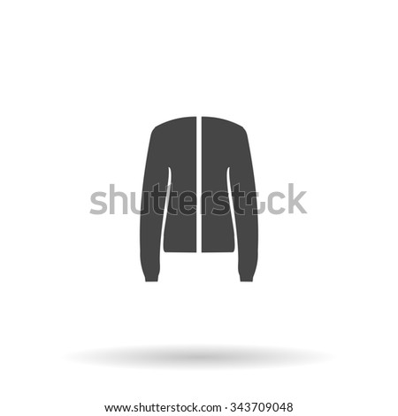 Jacket. Flat icon on grey background with shadow - stock photo