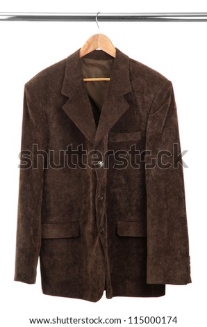 jacket on  wooden hanger, isolated on white