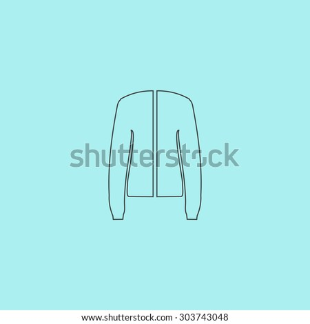 Jacket. Outline simple flat icon isolated on blue background - stock photo