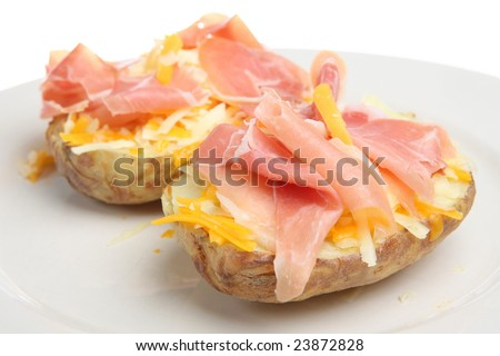 Jacket potato with ham and cheese