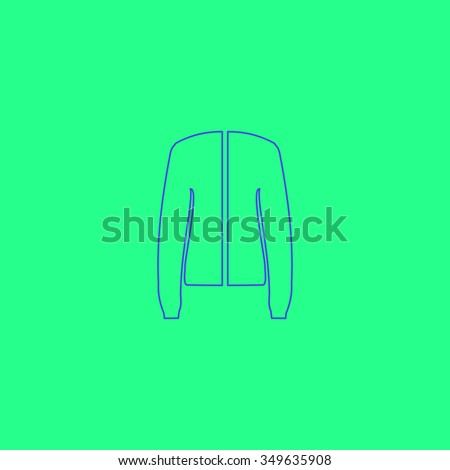 Jacket. Simple outline illustration icon on green background - stock photo