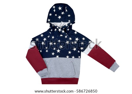 jacket, sweatshirt with a hood striped with big white stars, clothes for children of school age