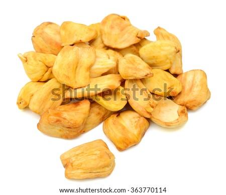 JackFruit Chips Vacuum fried isolated on white background - stock photo