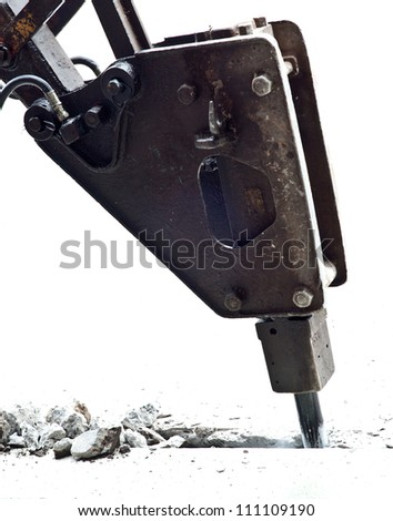 jackhammer, hydraulic arm breaking up isolated on white - stock photo