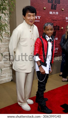 Jackie Chan and Jaden Smith at the Los Angeles premiere of 'The Karate Kid' held at the Mann Village Theater in Westwood, USA on June 7, 2010. - stock photo