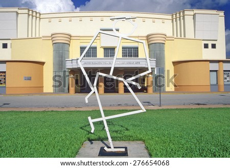 Jackie Gleason Theater of the Performing Arts in the Art-Deco District of south beach, Miami Beach, Florida - stock photo