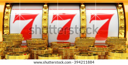 Jackpot, gambling gain, luck and success concept, closeup view of casino slot machine with winning event and gold coins in foreground - stock photo