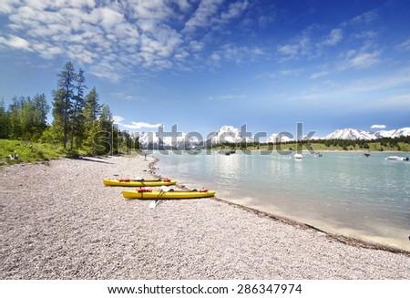 Jackson Lake at Grand Teton - stock photo