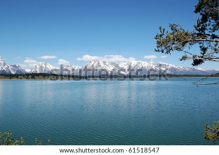 Jackson Lake in Grand Teton National Park in a Beautiful Clear Day