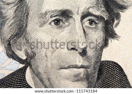 jackson on the twenty dollar bill - stock photo