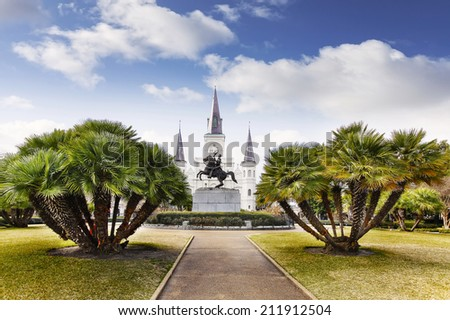 Jackson Square in French Quarter of New Orleans, USA - stock photo