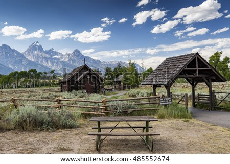 JACKSON, WYOMING - JULY 27: Chapel of the Transfiguration at Grand Teton National Park on July 27, 2016 in Jackson, Wyoming