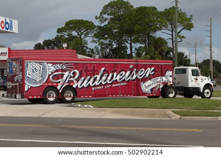 JACKSONVILLE BEACH, FLORIDA - OCTOBER 15, 2016: A Budweiser delivery truck. Budweiser is an American beer produced by Anheuser-Busch. Bud is one of the highest selling beers in the United States.