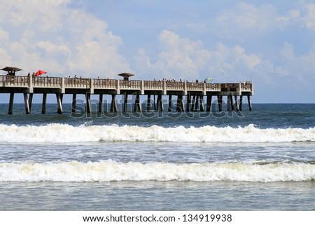Jacksonville Beach Florida Pier - stock photo