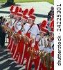 JACKSONVILLE, DECEMBER 30, 2008: Nebraska Marching Band, marching in the Gator Bowl Parade in Jacksonville, Florida. The parade leading up to the January 1, 2009 Gator Bowl football game between Clemson and Nebraska. - stock photo