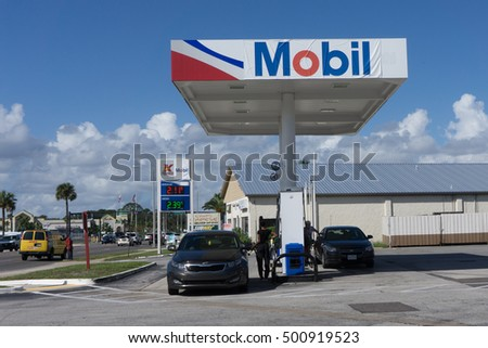 JACKSONVILLE, FL-OCTOBER 18, 2016: A Exxon Mobil Gas Station. Exxon Mobil is the world's 8th largest company by revenue and the fifth largest publicly traded company by market capitalization.