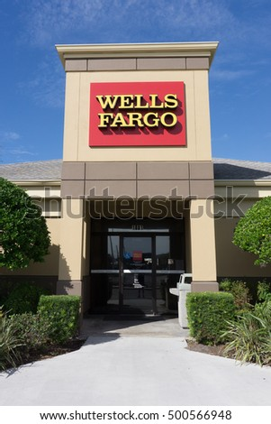 JACKSONVILLE, FL-OCTOBER 16, 2016: A Wells Fargo Bank Branch in Jacksonville, Florida. Wells Fargo & Company was founded in 1929 and currently has 9,000 bank branches in 39 states.
