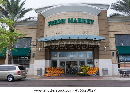 JACKSONVILLE, FL-OCTOBER 8, 2016: The Fresh Market grocery store in Jacksonville. The Fresh Market is a chain of gourmet supermarkets with 178 stores in 27 states.