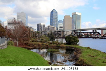 Jacksonville, Florida skyline along the St Johns River, as seen from Riverside