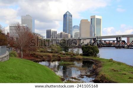 Jacksonville, Florida skyline along the St Johns River, as seen from Riverside - stock photo