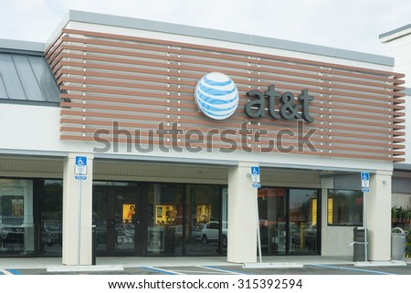 JACKSONVILLE, FLORIDA, USA - AUGUST 02, 2015: An AT&T Mobility sign in Jacksonville. AT&T Mobility is the second largest wireless telecommunications provider in the United States and Puerto Rico. - stock photo
