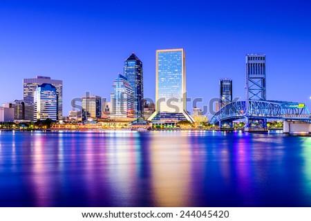 Jacksonville, Florida, USA downtown city skyline on St. Johns River. - stock photo
