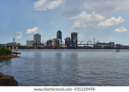 Jacksonville, Florida, USA downtown city skyline on St. Johns River - stock photo