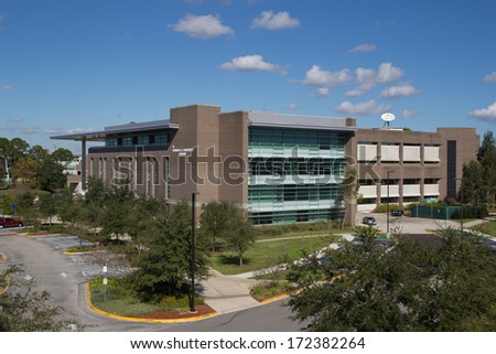 JACKSONVILLE, FLORIDA, USA - NOVEMBER 23, 2013: The Thomas G. Carpenter Library at the University of North Florida. The Library has over 800,000 books, 52,000 electronic books, and 800 videos.