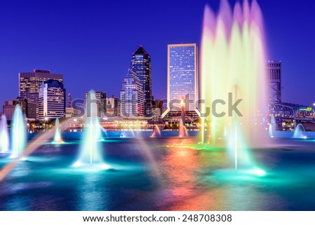 Jacksonville, Florida, USA skyline at the fountain. - stock photo