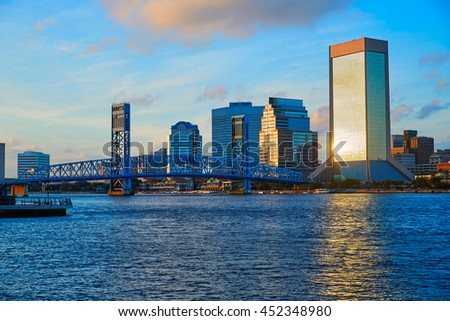 Jacksonville skyline evening with blue river reflection in florida USA - stock photo