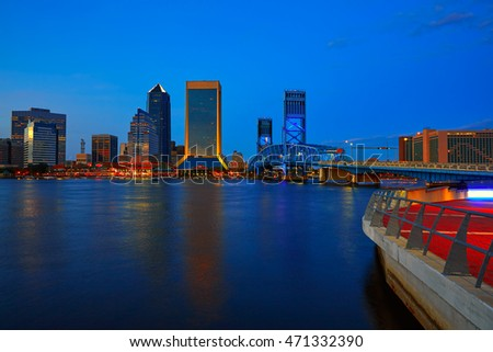 Jacksonville skyline sunset river reflection in Florida USA