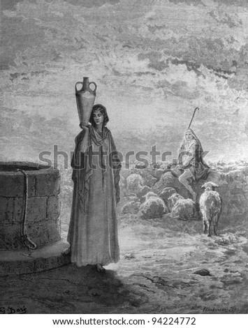 Jacob at the well. 1) Le Sainte Bible: Traduction nouvelle selon la Vulgate par Mm. J.-J. Bourasse et P. Janvier. Tours: Alfred Mame et Fils. 2) 1866 3) France 4) Gustave Doré - stock photo