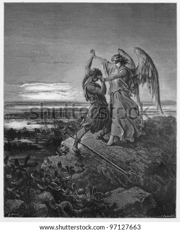 Jacob wrestles with the angel - Picture from The Holy Scriptures, Old and New Testaments books collection published in 1885, Stuttgart-Germany. Drawings by Gustave Dore. - stock photo