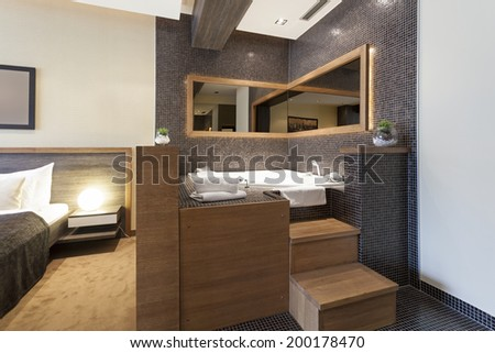 Jacuzzi bath near the bed in luxury living room apartment - stock photo