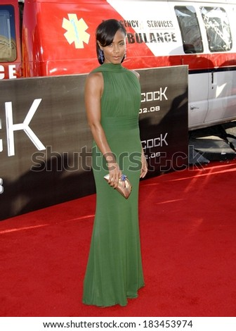 Jada Pinkett-Smith, in a Herve Leroux gown and Judith Leiber clutch bag, at Premiere of HANCOCK, Grauman's Chinese Theatre, Hollywood, CA, June 30, 2008 - stock photo