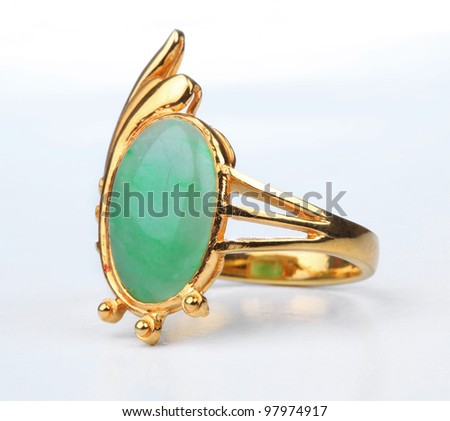 Jade gold ring isolated on white background.
