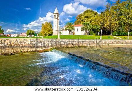 Jadro river waterfall in town of Solin, Dalmatia, Croatia - stock photo